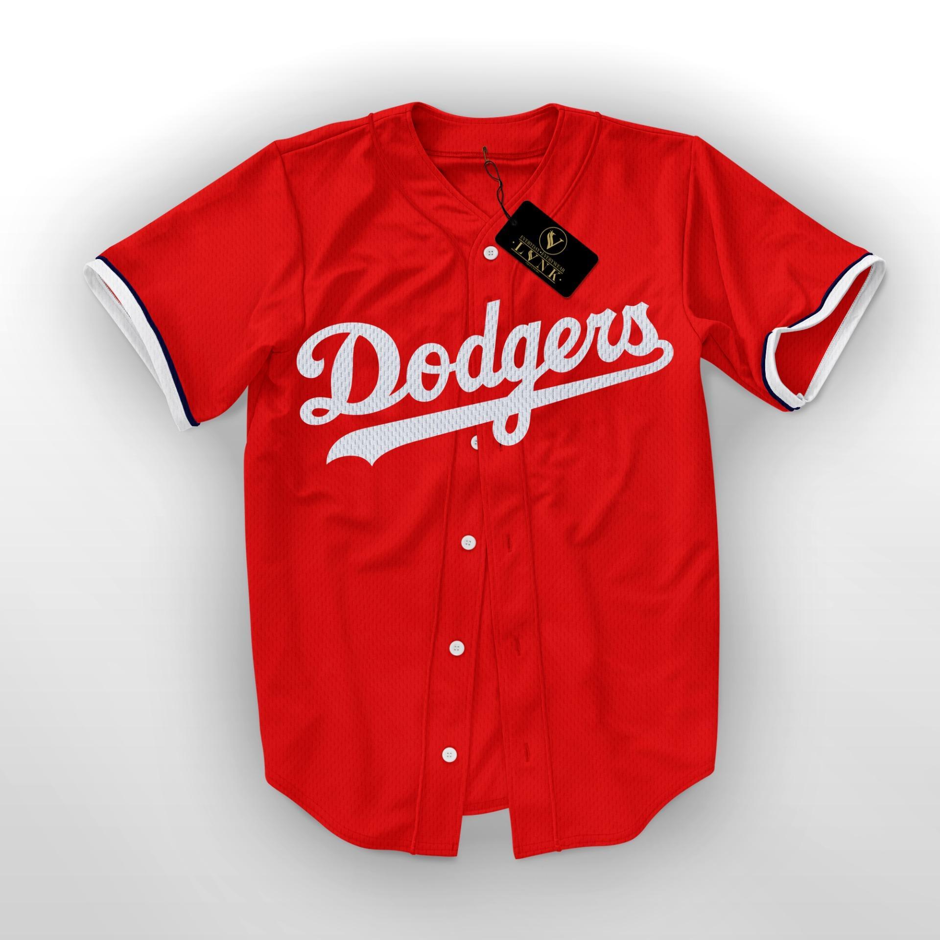 LVNK • Jersey Baseball / Baju Baseball / Baju Hiphop Dodgers Merah