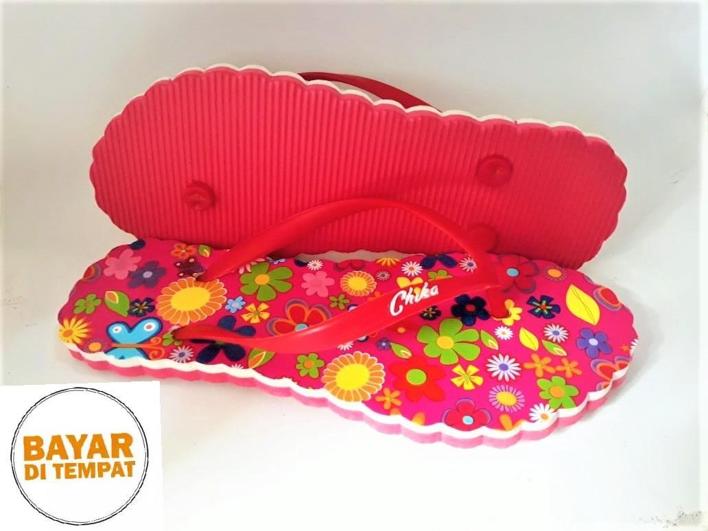 Sandal Chika/ Sandal Jepit Wanita/ Sandal Lucu/ Sandal Flip Flop Brand New Motif Red Garden