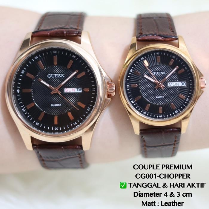 Jam tangan couple pasangan fossil / guess kulit grosir supplier murah HOT