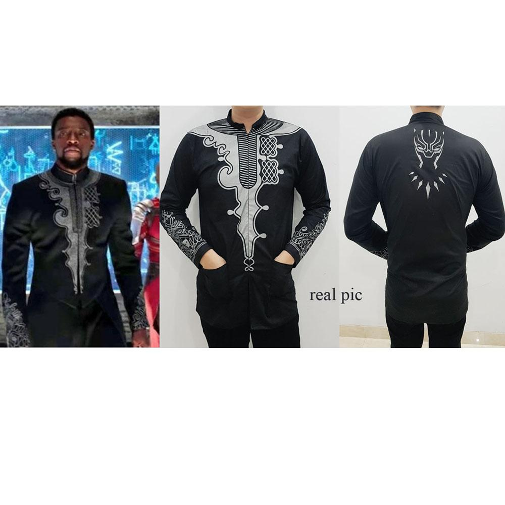 M Fashion - baju koko pria black panther hitam / baju lebaran / kemeja pria / jubah / baju polos