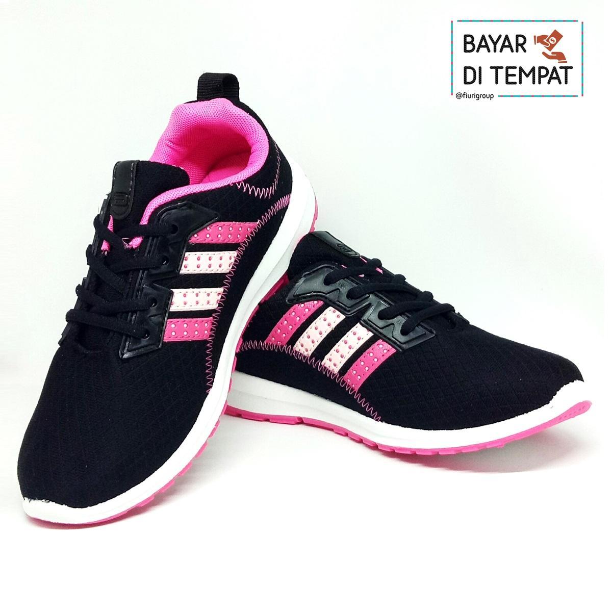 Jual Sepatu Olahraga Wanita Pria Running Nike Air Max Sport Tenis Fiuri Ando Original Plano Black Pink Sneakers