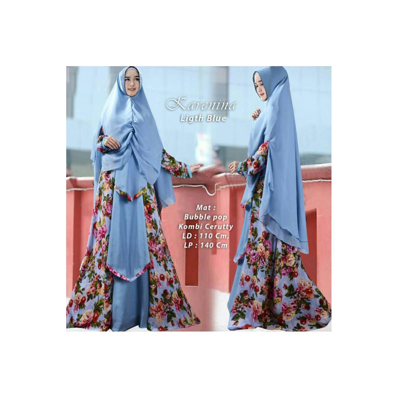 Baju Pengantin Muslimah 120273 GAMIS JUMBO SYARI KARENINA LIGHT BLUE