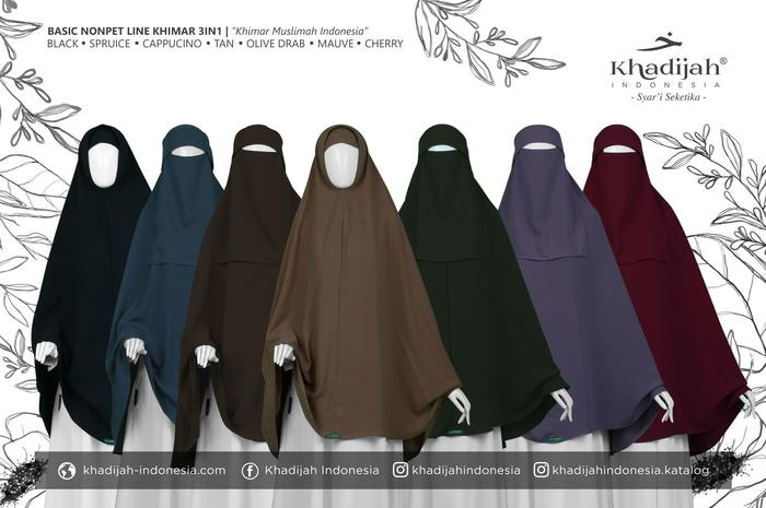 [Size S] Basic NonPet Line Khimar 3in1 Khadijah Indonesia  A4139