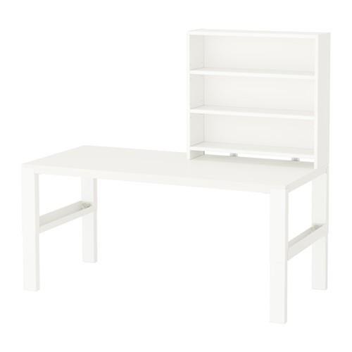 IKEA PAHL Meja Belajar Anak Dgn Rak- Tinggi Dpt Disesuaikan- Putih NEW