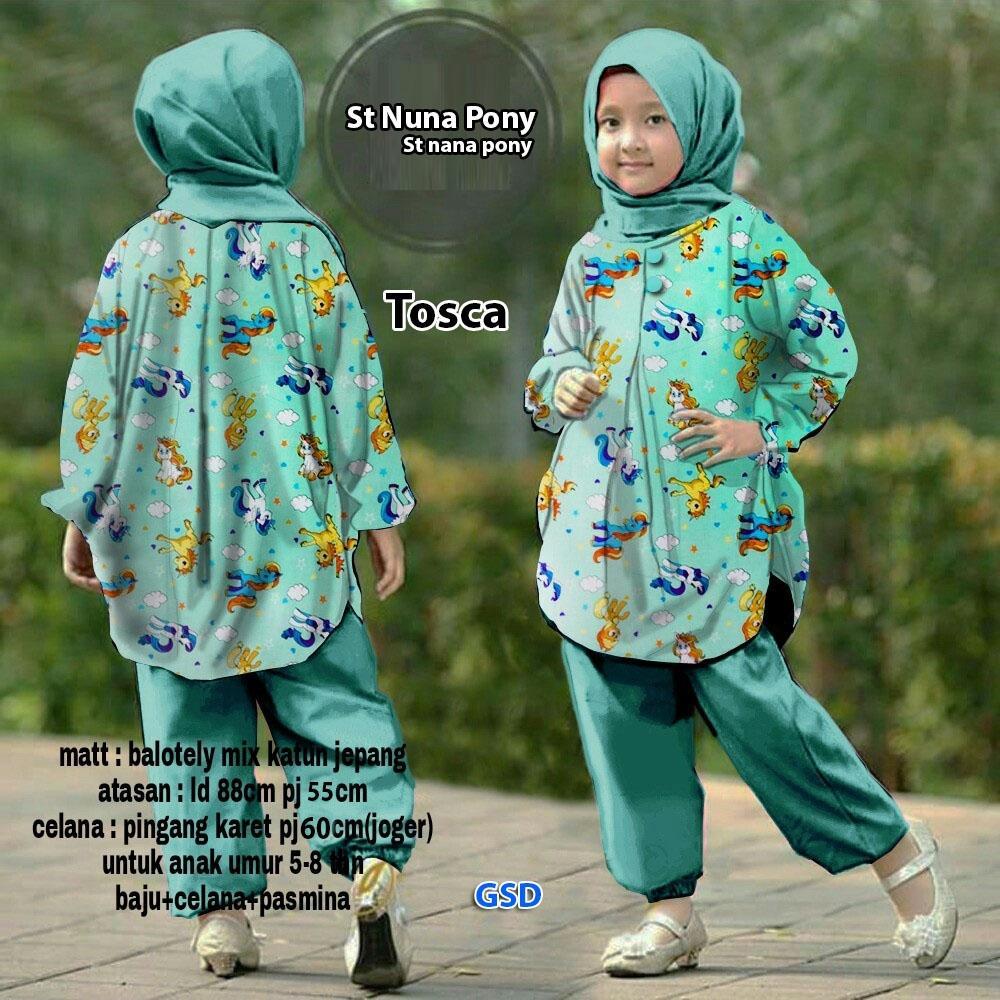 Wow keren - stelan Baju anak / baju anak cewek / baju anak anak/ Baju muslim anak / baju anak muslim / stelan jilbab Nana