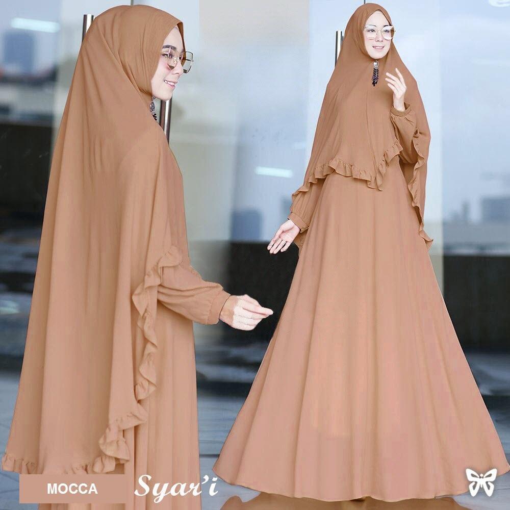 Jual Gamis Terbaru Terlengkap Monalisa Merah Biru Katun Jepang Original Syari Set 2 In 1 Msr043 Baju Muslim Wanita Gaun