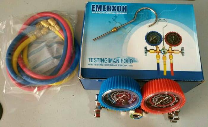 Emerxon Testing Manifold / Double Manifold Untuk Isi Freon AC