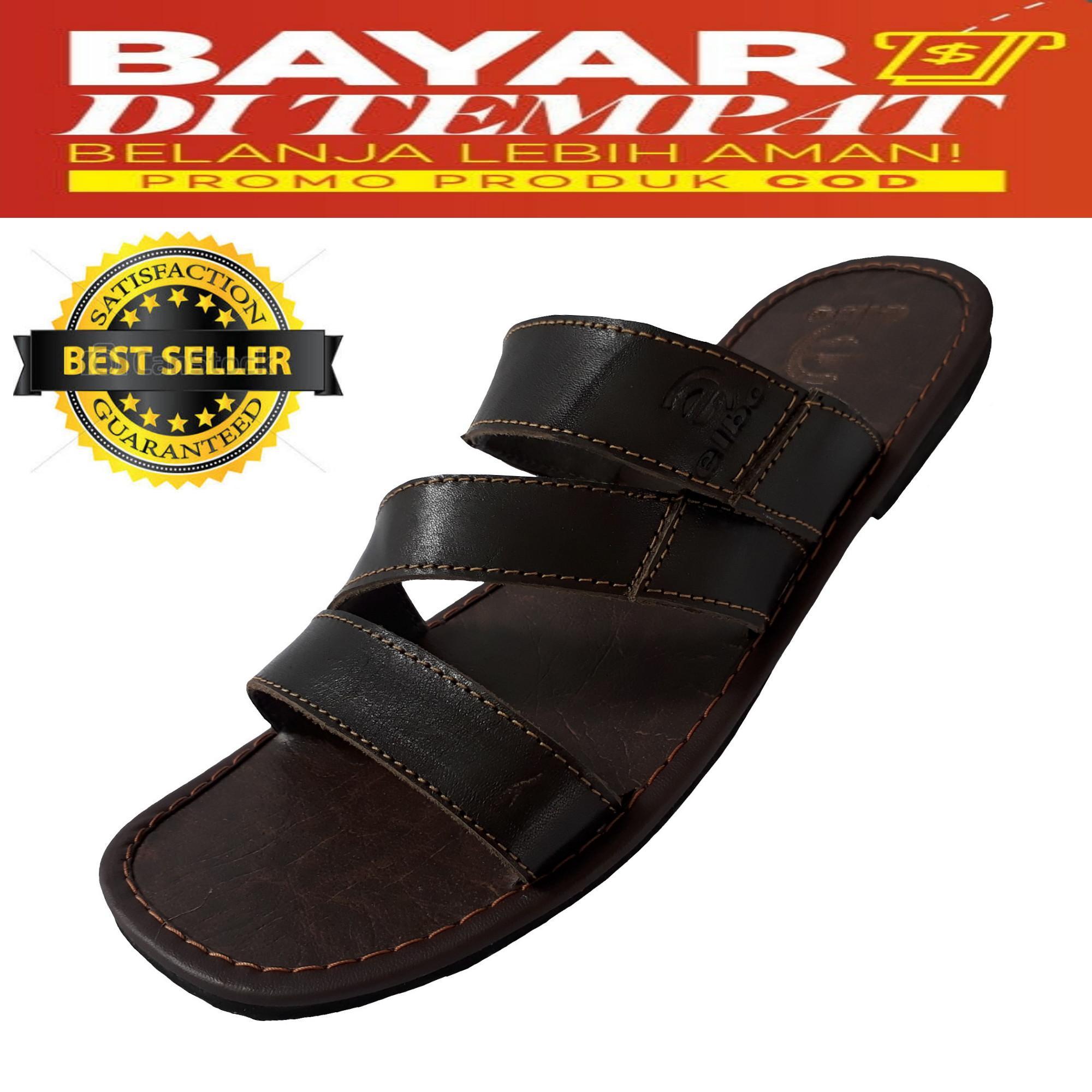 Sandal Pria Selop Ban3 Kulit Ukuran BIGSIZE/JUMBO 44-47 - Chocolate