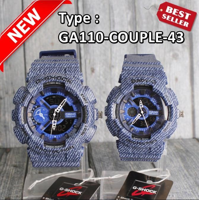 TERLARIS...Harga sepasang Jam tangan Wanita & Pria GA110 Navy Biru Dongker Motif Jeans Denim Jam Tangan Couple Digital Murah