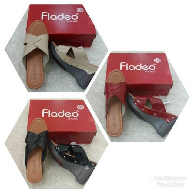 Fladeo - Sandal Wedges Wanita Branded Original Murah Variasi Black sz 38