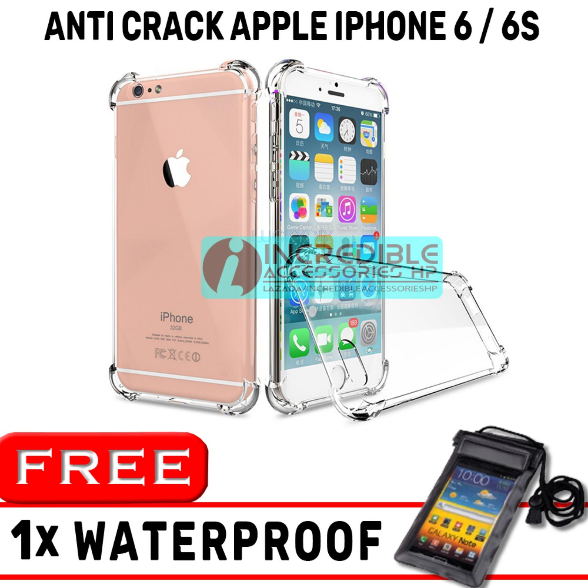Anti Crack for Apple iPhone 6 / 6s Softcase Elegant Anti Shock Jelly Case - Bening + Free Waterproof Warna Random