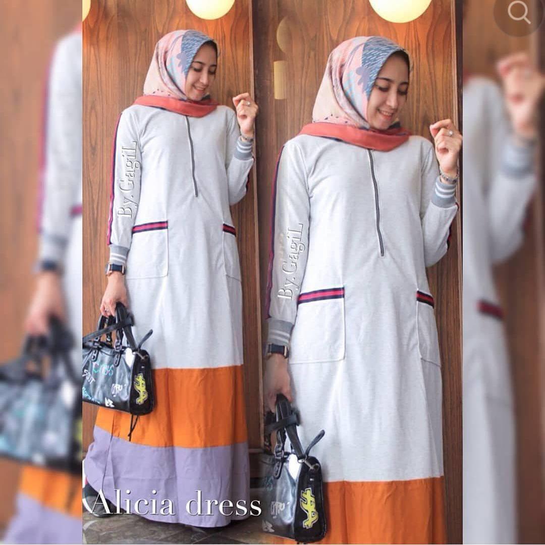 Baju Original BC Alicia Maxi Dress Muslim Modern Panjang Hijab Fashion Perempuan Casual Gamis Pakaian Wanita Terbaru Tahun 2018