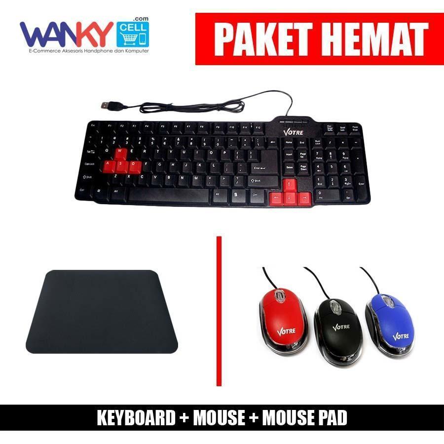Paket Hemat Keyboard Votre KB2308 + Mouse Votre + Mouse Pad Random Colour