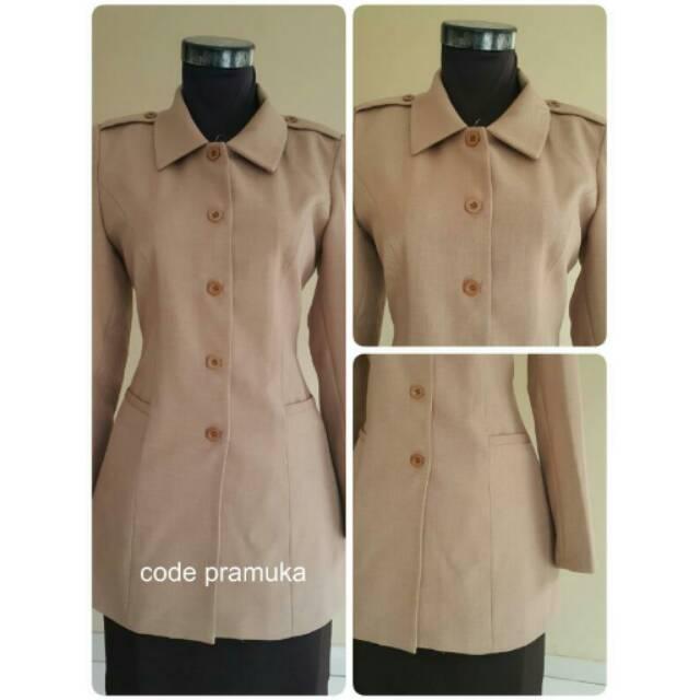 RESTOK Baju/Blazer Seragam Pembina/Guru wanita Pramuka, coklat,muslim bagus murah size kecil-Jumbo