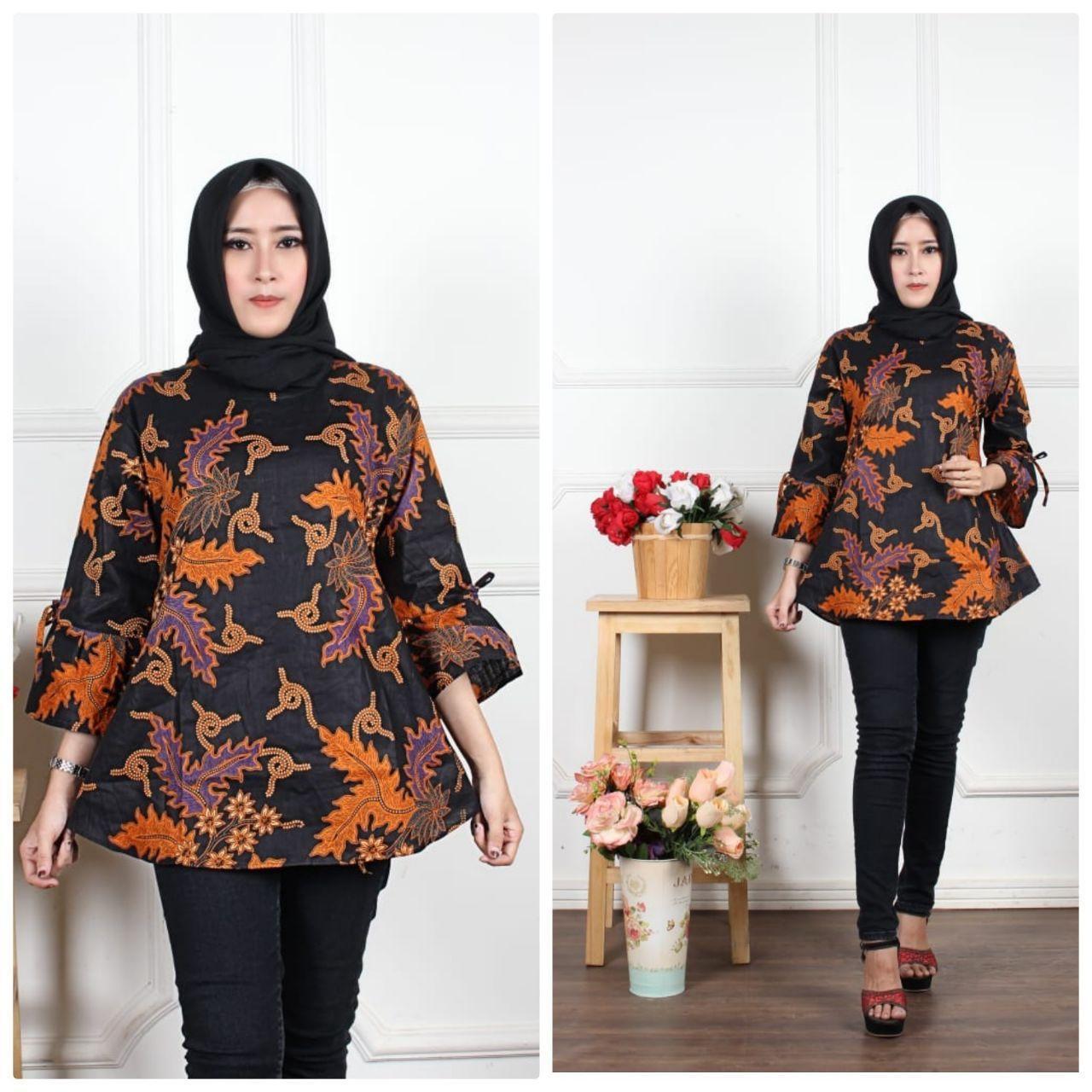 Blus Batik Atasan Wanita Batik Seragam Guru Baju Kerja Wanita Modern