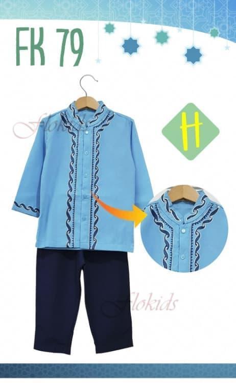 [ update terbaru ]  Baju Muslim Anak Laki Koko FloKids FK79 Lengan Panjang Biru Muda
