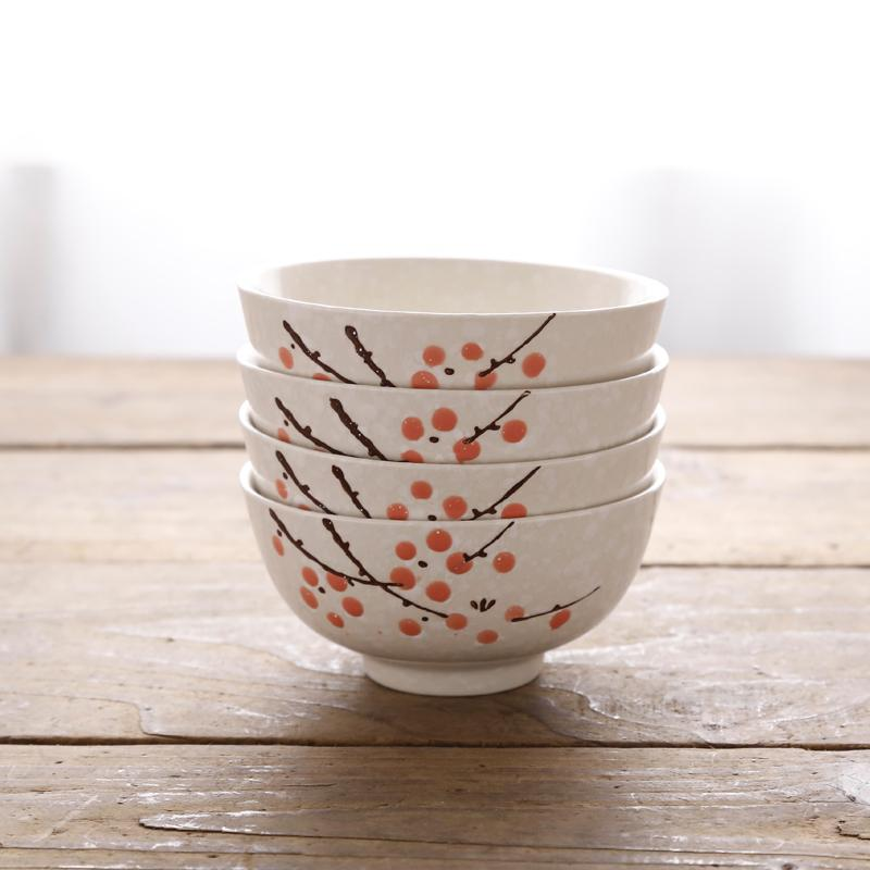 Rp 177.700 4 1 Set isi model Jepang Mangkok nasi corak angin kreatif Model Korea rumah tangga Keramik Makan mangkok Hotel Peralatan makan SNOW kecil Mangkuk ...
