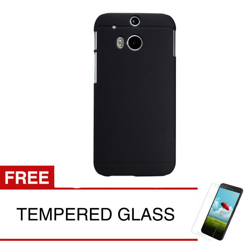 Case for HTC One M8 - Slim Black Matte Hardcase +  Gratis Tempered Glass
