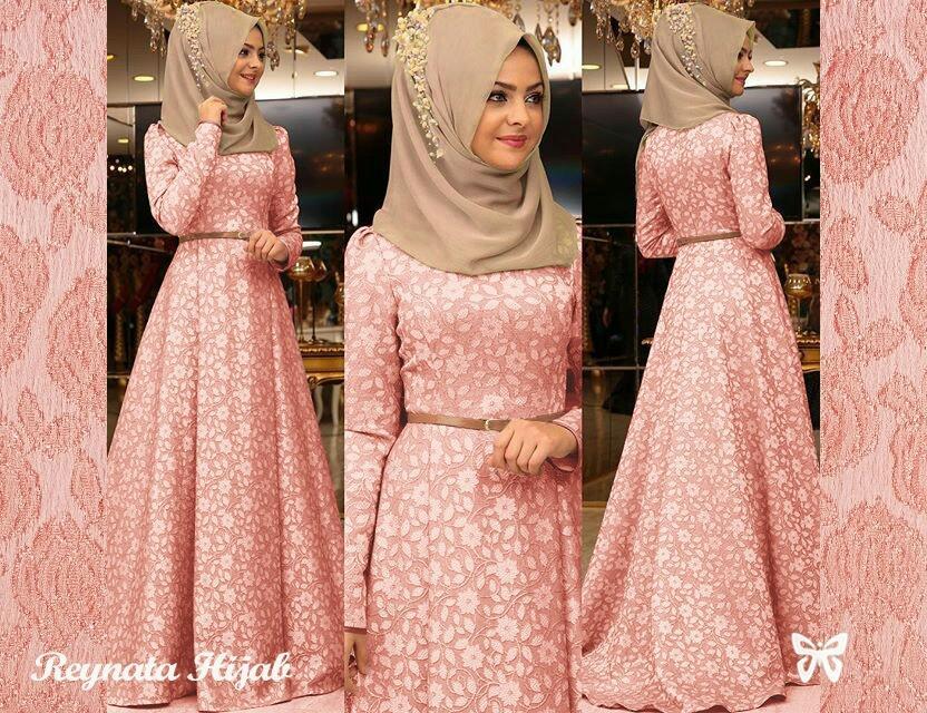 LF Dress Wanita Gamis / Gamis Wanita / Muslim Cewek / Gamis Dress / Set Terusan Maxi Hijab / Syari Simple / Baju Muslim Wanita / (ynatare) SS - Peach - TANPA Pasminah & Dapat Belt