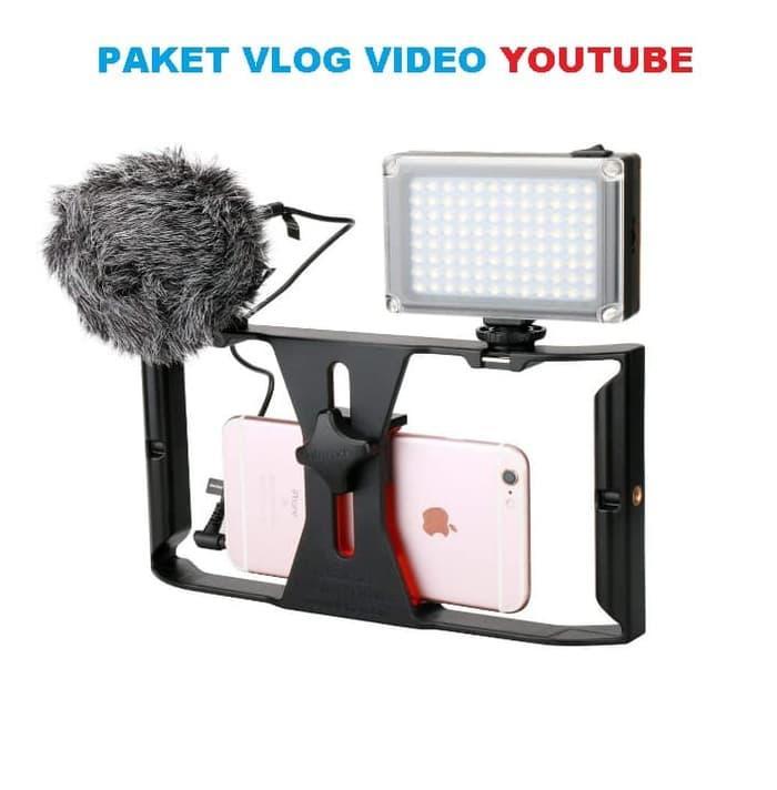Baru!!! Paket Vlog Hp Kamera Youtube Mic Led Dan Handheld Rig - ready stock
