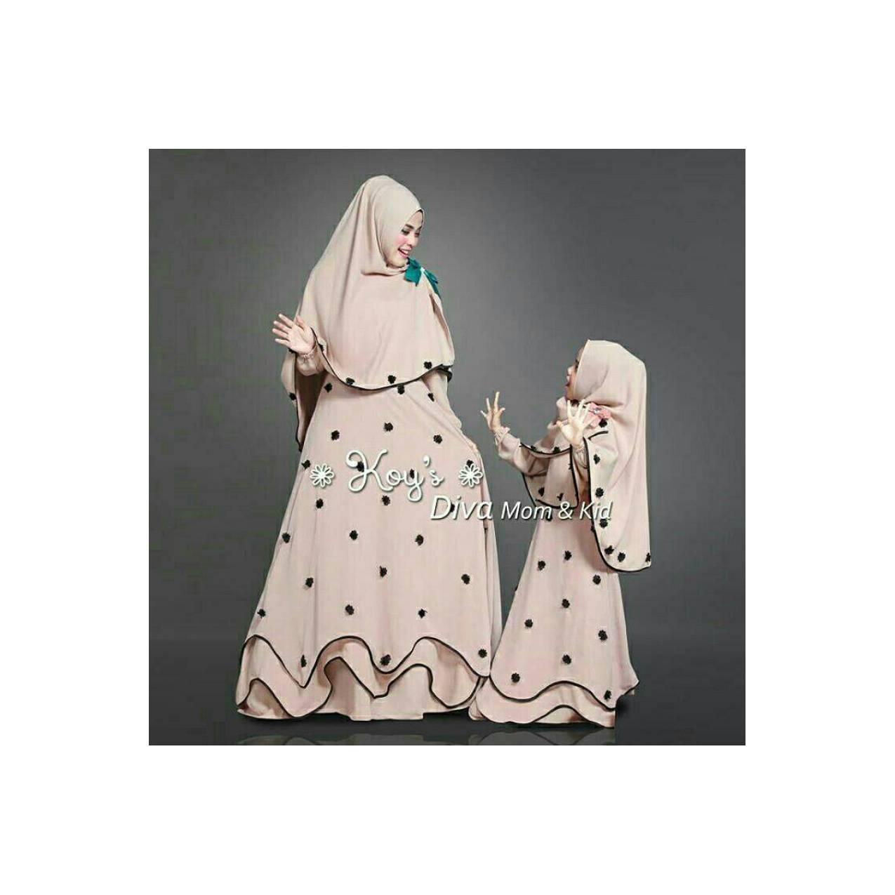 baju gamis syar'i couple ibu dan anak okky