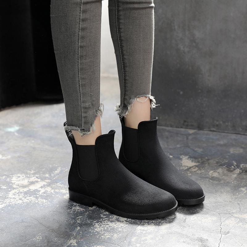 Musim Semi modis anti Suede Tahan Air sepatu bot hujan dewasa Korea Selatan Anti Selip sepatu anti air Pendek sepatu anti air Sepatu karet CHELSEA sepatu boots hujan wanita
