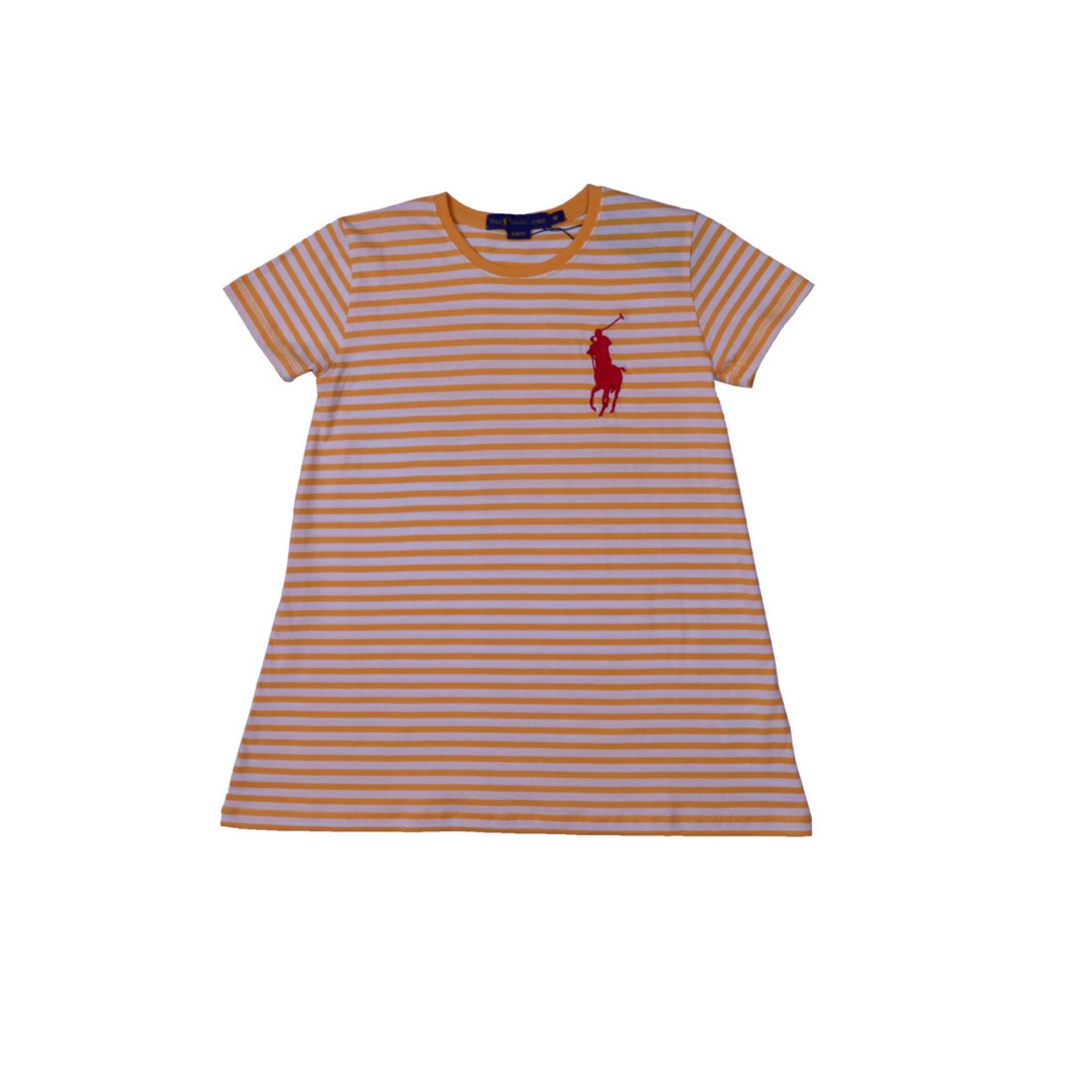 POLO RALPH LAUREN - T SHIRT STRIPE CUSTOM FIT S/S FAIR ORANGE- WHITE KIDS GIRL