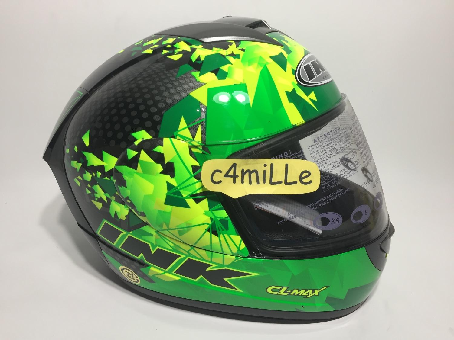 HELM INK CL MAX #6 BLACK GREEN FLUO FULL FACE SIZE L