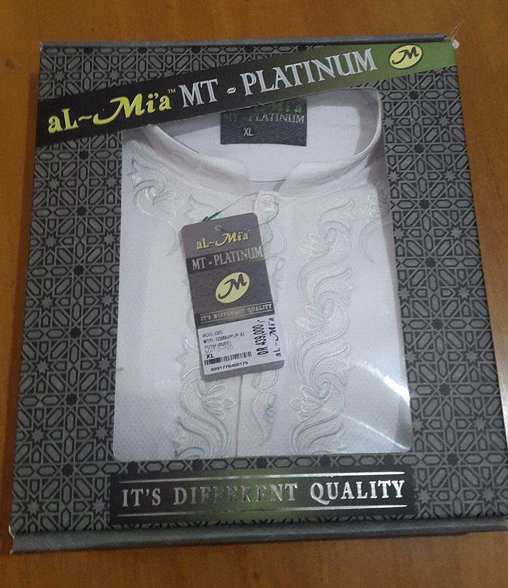 Baju Koko Pria Muslim Lengan Panjang ALMIA MTPL122 - PUTIH