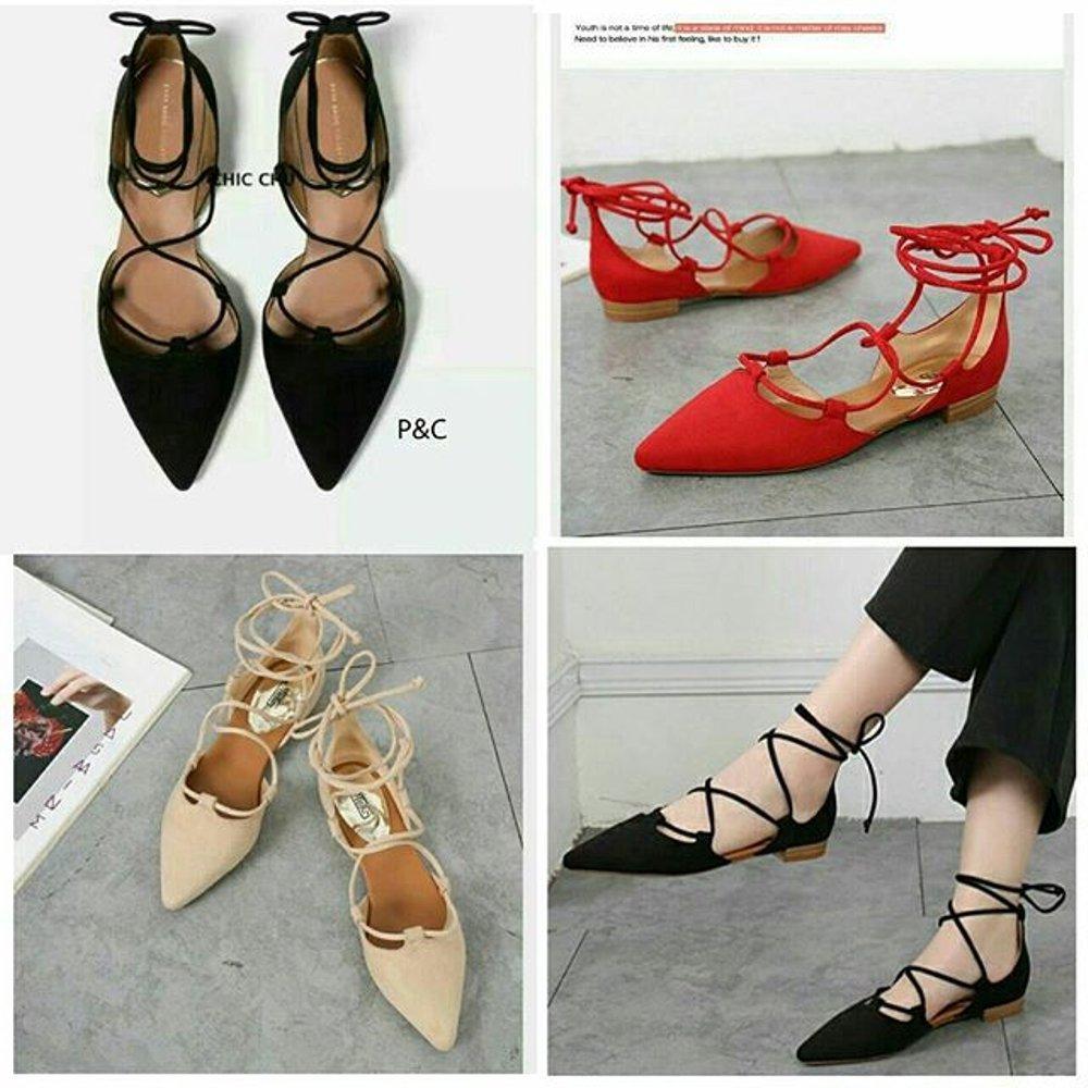 Sepatu murah Flat Sueede Tali (ready warna black,cream,red) Termurah Di
