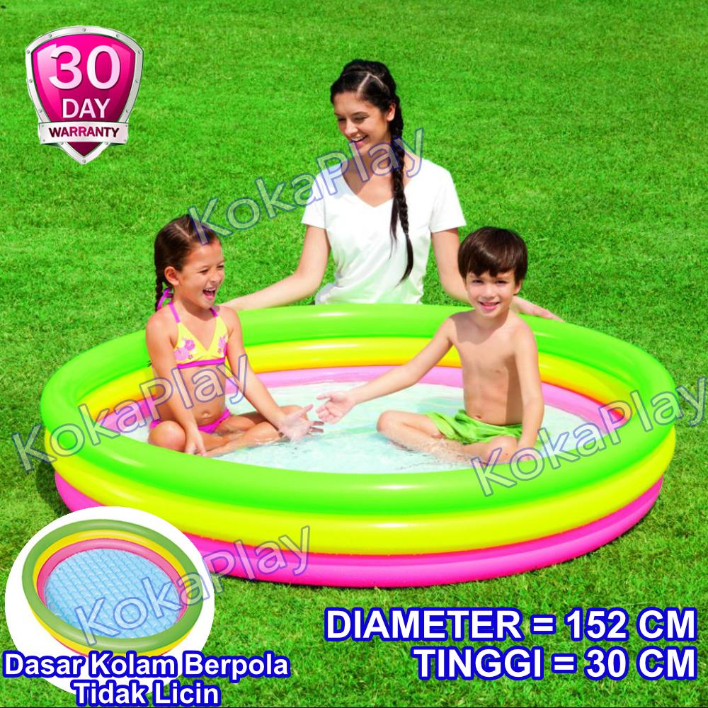 Rp 117.900. Bestway Intex Rainbow Inflatable Pool 3 Colors Pelampung Kolam Renang Anak ...