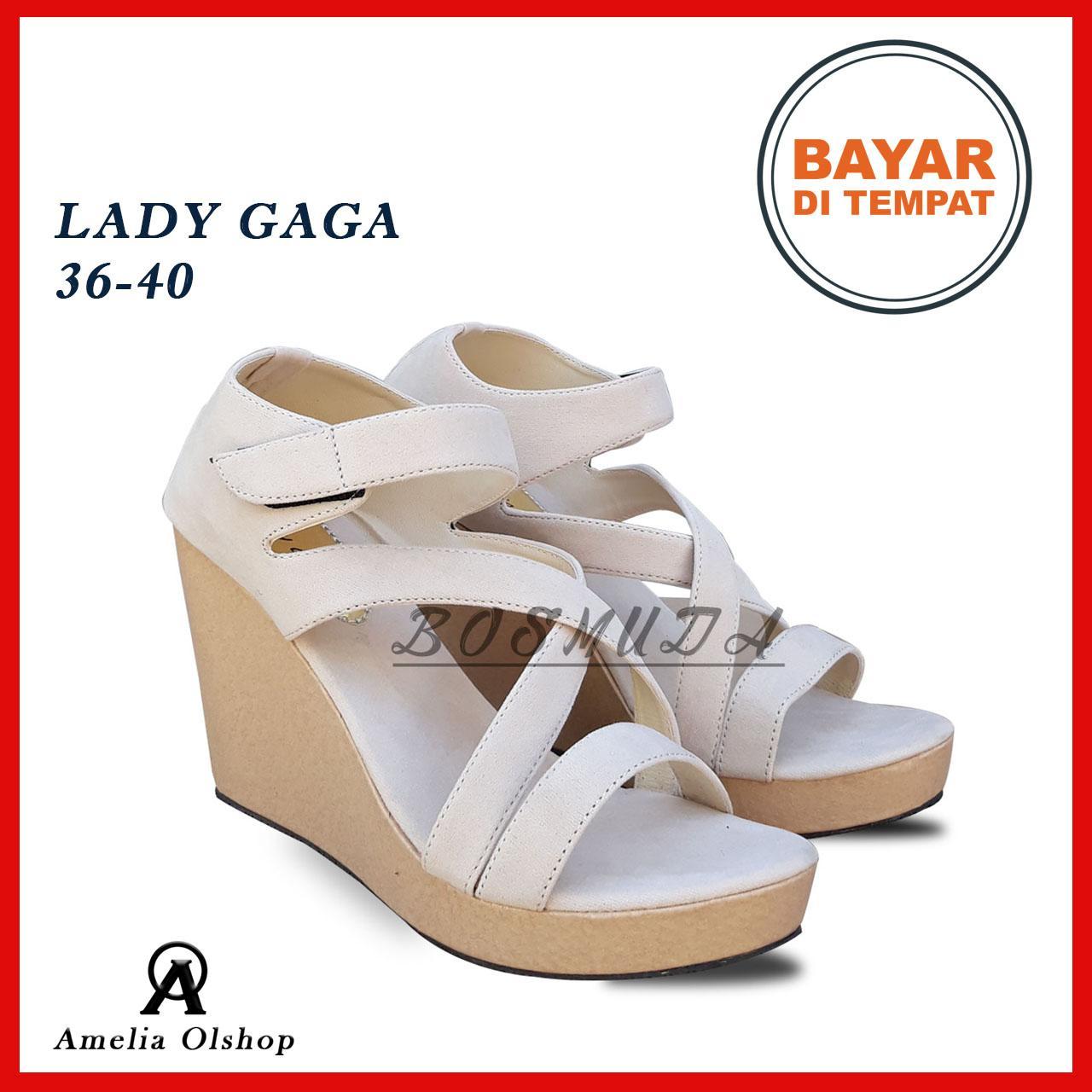 Amelia Olshop - Wedges Lady Gaga 36-40 / Wedges Wanita / Wedges Murah / Sandal Jinjit Wanita / Sandal Wedges Wanita