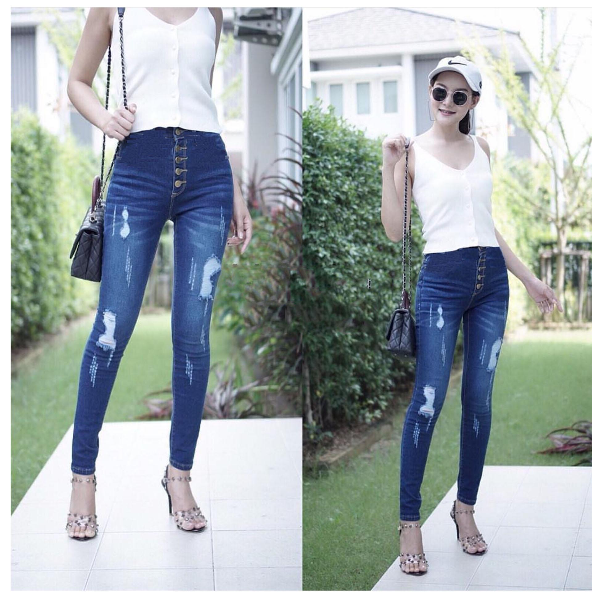 master jeans celana wanita highwaist kancing lima sobek puring
