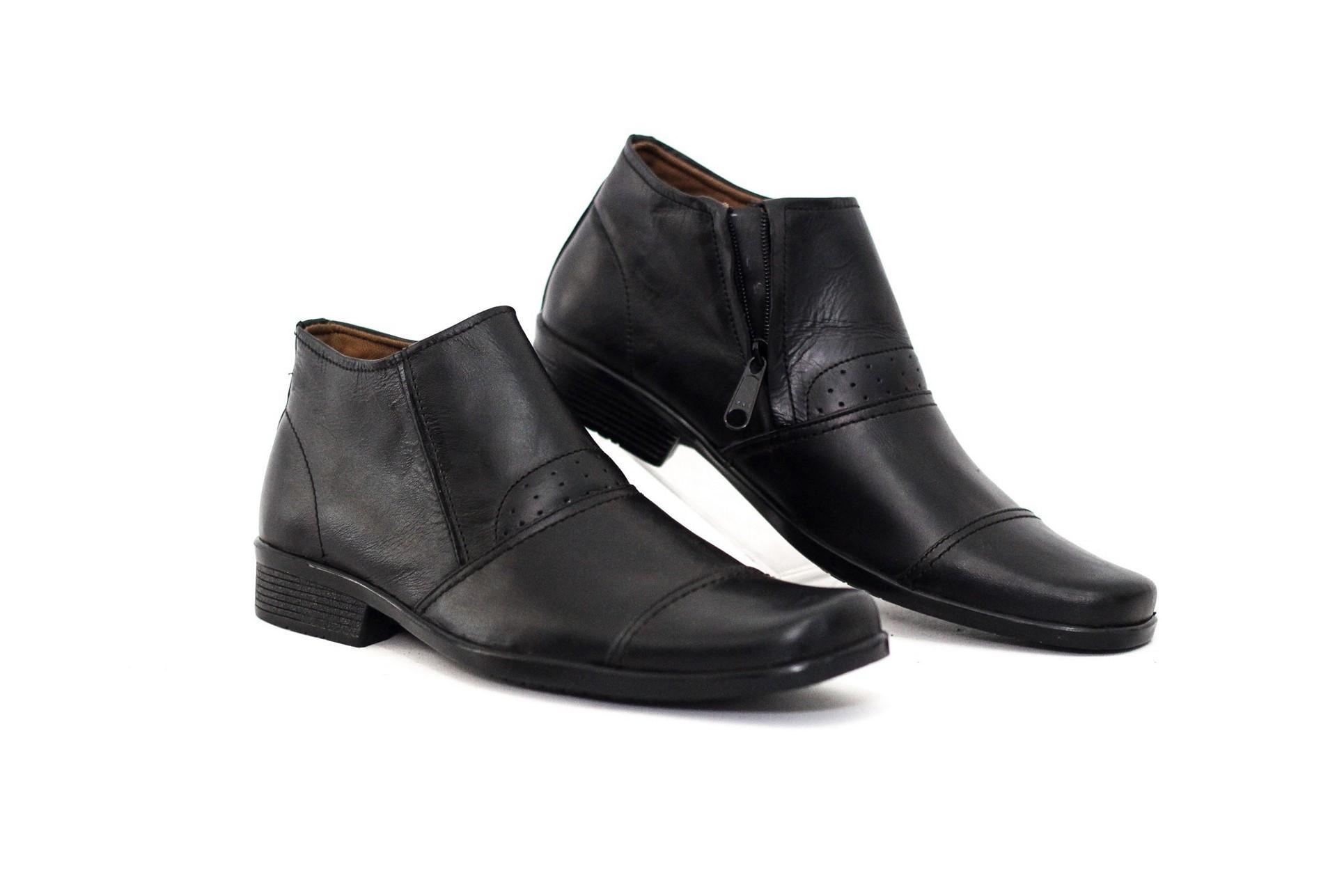 Cevany Footwear - Sepatu Pantofel Kulit Asli Semi Boot Resleting Samping Pria Kasual Formal GEOX U JAYLON ANKLE BOOTS BLACK YY018234