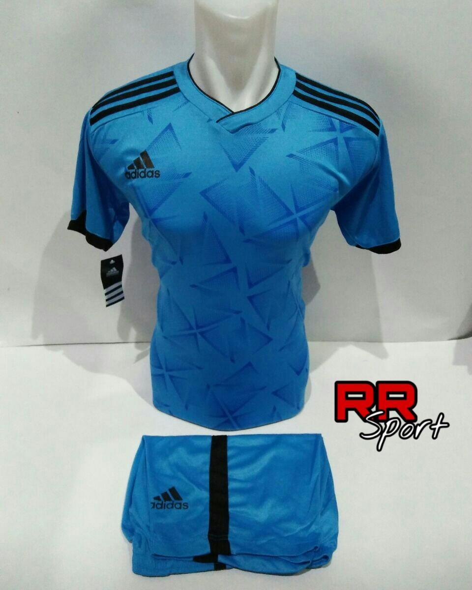Baju Kaos Olahraga Jersey Bola Setelan Futsal Volley Ad 08 Biru Muda