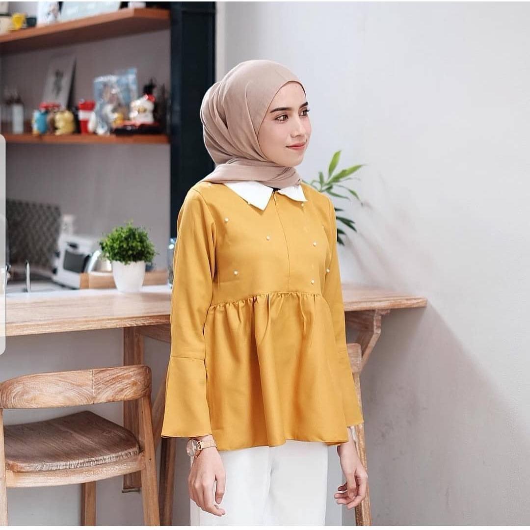 Baju Original Maika Blouse Baju Hijab Casual Pakaian Muslim Wanita Muslim Modern Terbaru Termurah 2018
