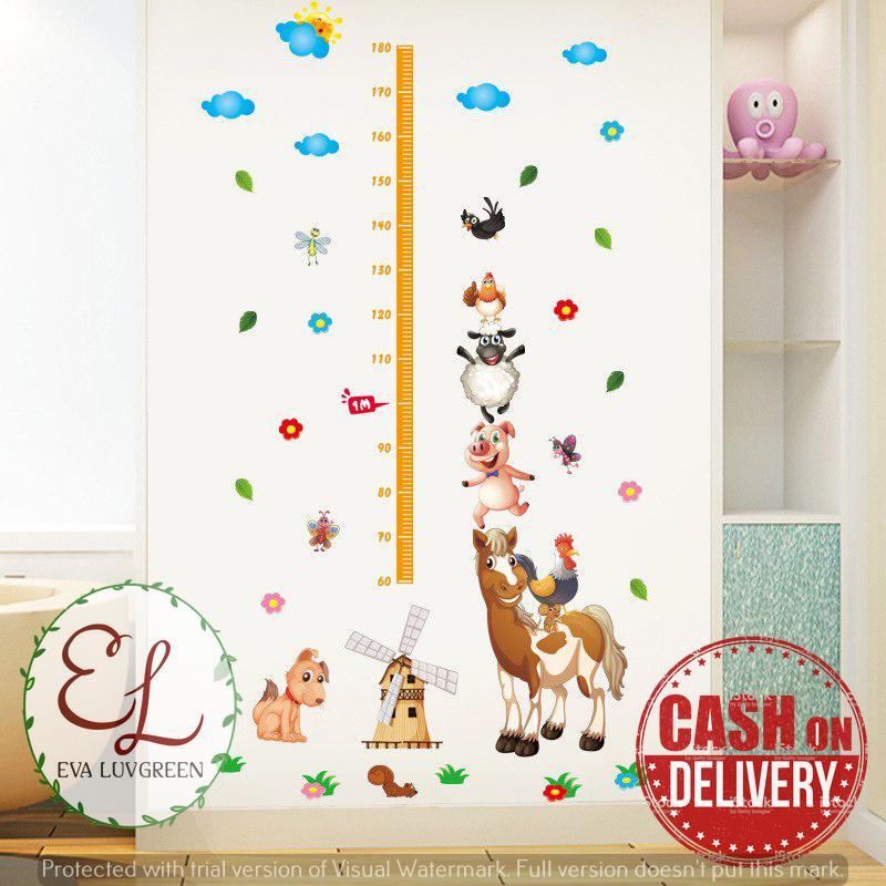 Eva Luvgreen Wallsticker Anak Pengukur Tinggi Badan Anak Domba Ukuran XL/ Stiker Dinding/ Stiker