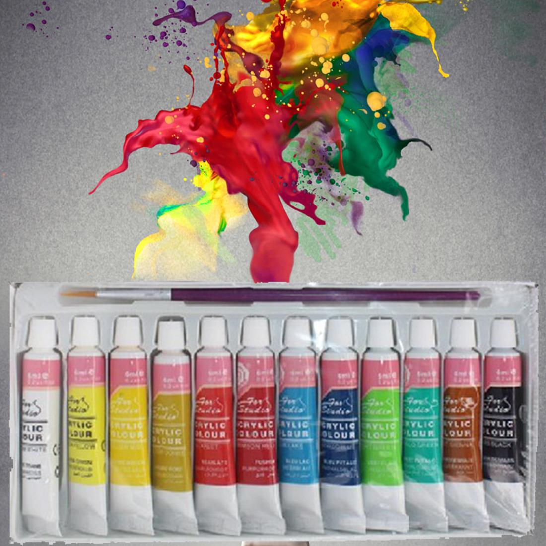 12 Colors Professional Acrylic Paints Set Hand Painted Wall Painting Textile - intl