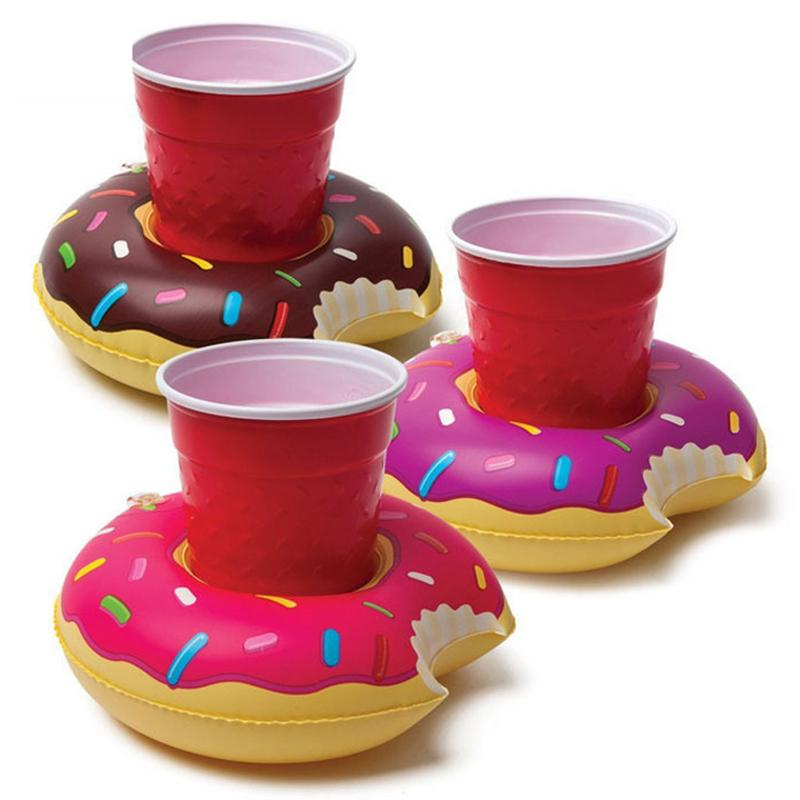Mini Cute Inflatable Pool Float Drink Holder Cup Mat Holder for Bath Toy Swimming Pool Beach Parties Color:Coffee