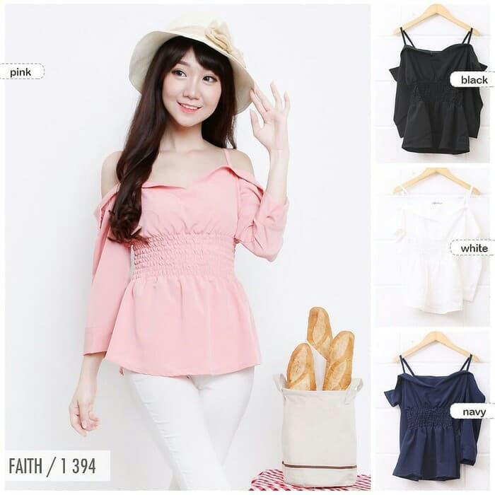 Malika offshoulder sabrina pink baju import bangkok
