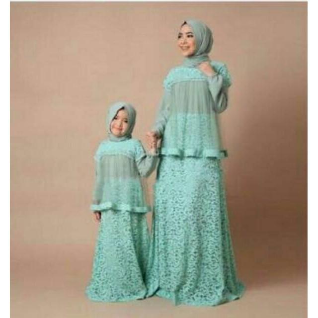 (TERBARU) couple ibu dan anak wardani murah atasan muslim gamis setelan baju fashion wanita kerjan (Wardani Biru Muda)