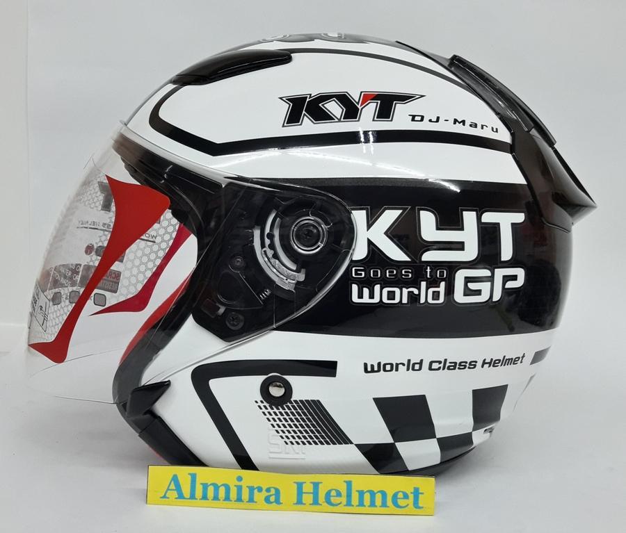 KYT DJ Maru #11 Helm Half Face - White Gunmetal