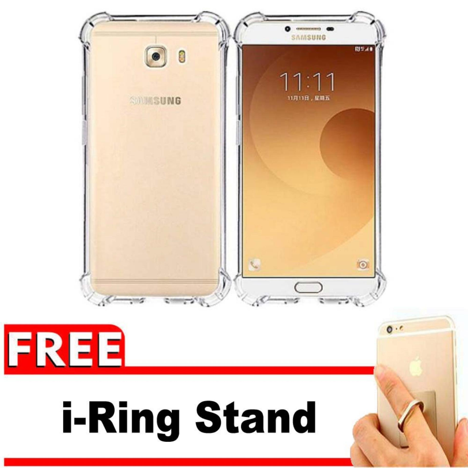ShockCase for Samsung Galaxy C9 Pro / 4G LTE / Duos | Premium Softcase Jelly Anti Crack Shockproof - Gratis Free iRing Stand Phone Holder - Transparan