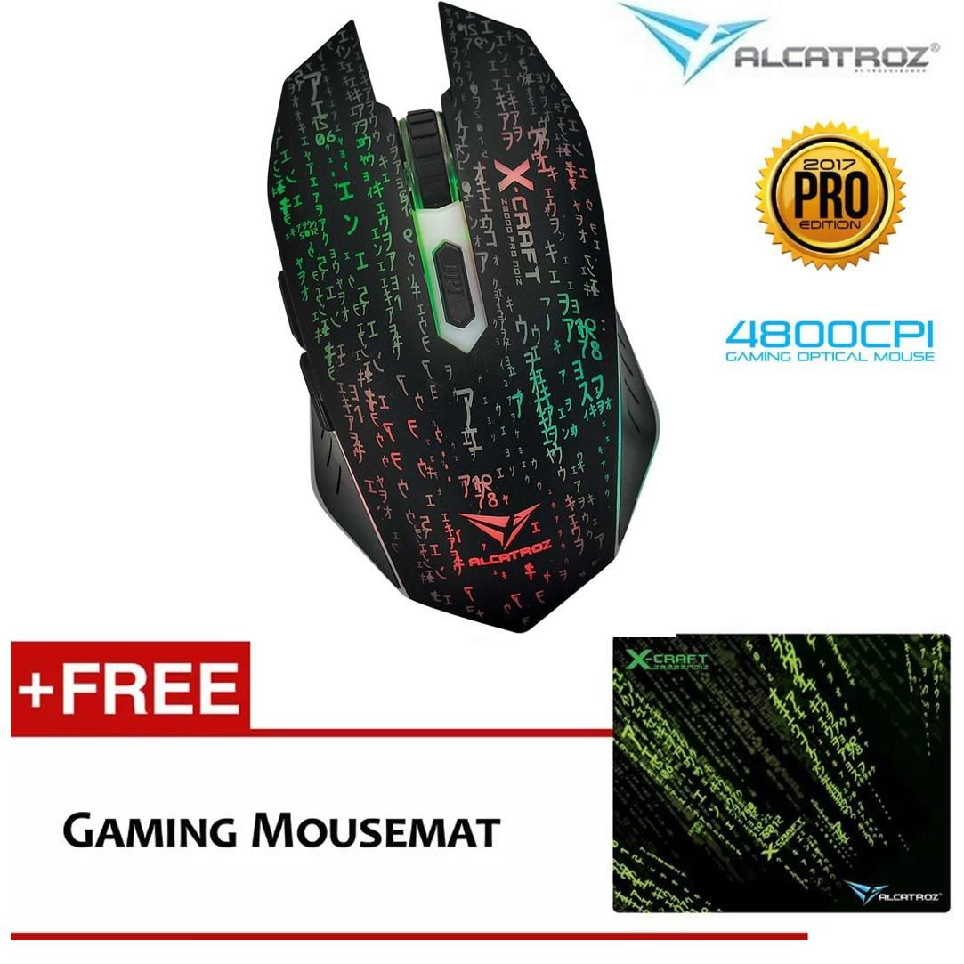 Alcatroz Gaming Mouse X-Craft Pro Z8000, Z7000, Z5000 Noiz Macro Programing + Mouse Pad