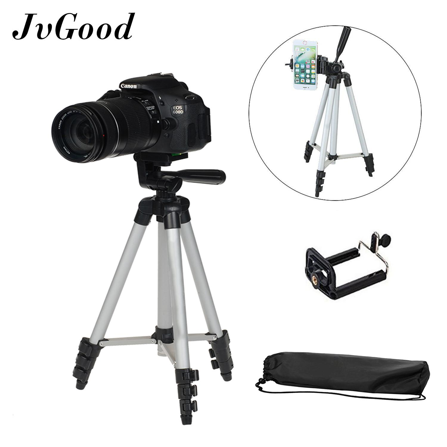 JvGood Camera Tripods with Bag Rotatable Retractable Tripods Stand Travel Tripods Mount  WT-3110A Compact Lightweight Aluminum Flexible Phone/Camera Tripods with Mobile Phone Holder Telescoping Camera DSLR Stand Tripods