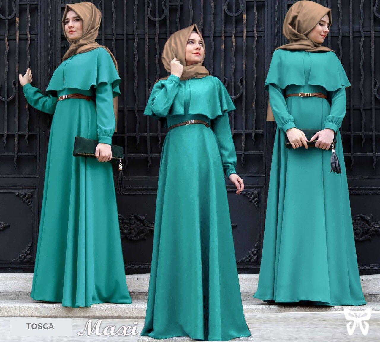 Flavia Store Maxi Dress Lengan Panjang Set 3 in 1 FS0623 - TOSCA / Gamis Syari / Gaun Pesta Muslimah / Baju Muslim Wanita Syar'i / Hijab Jilbab Pashmina / Srclara