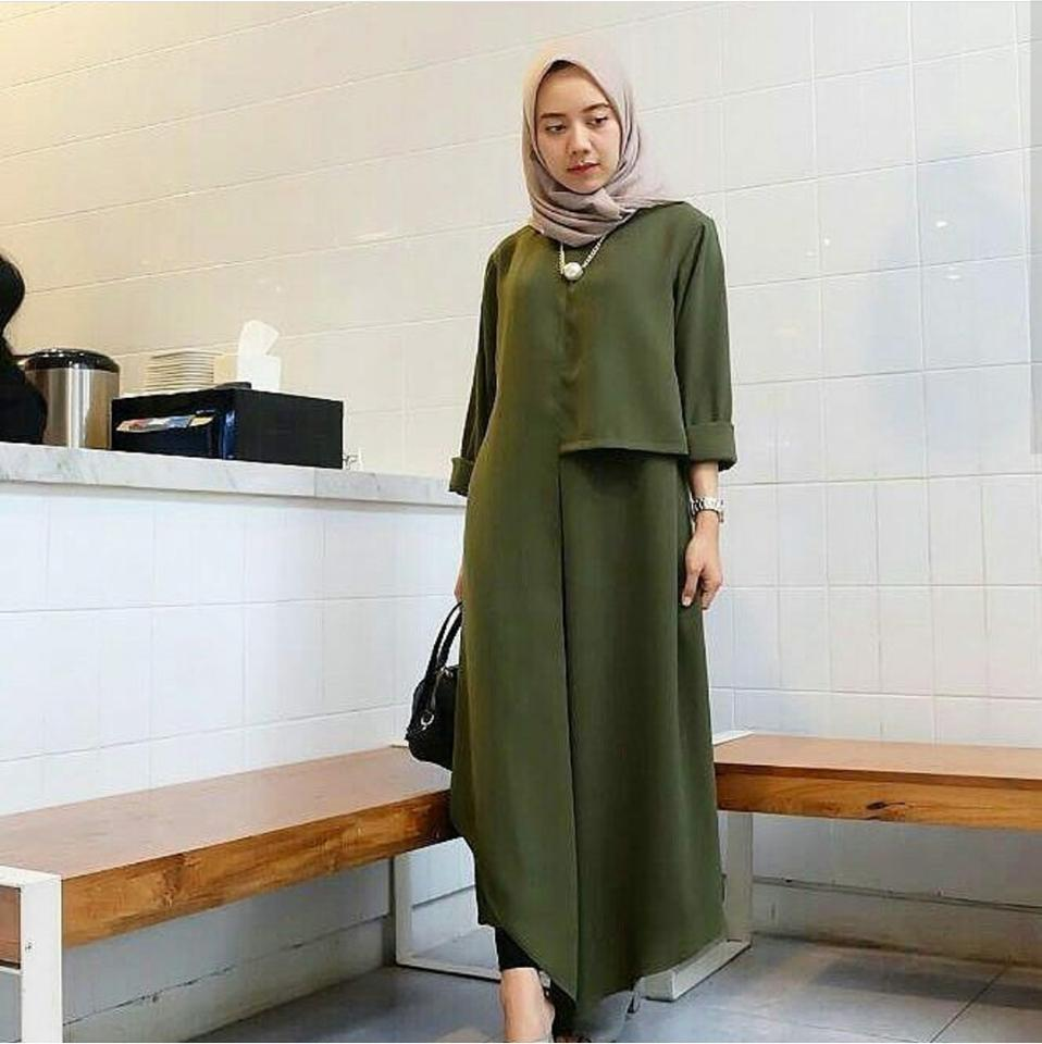 Inul Dress Army // Busana Muslim Wanita MC223 Inul Dress Army // Maxi Dress / Maxi Muslim / Dress Muslim / Busana Muslim / Baju Muslim / Hijab Fashion / Hijab Style - Hight Quality