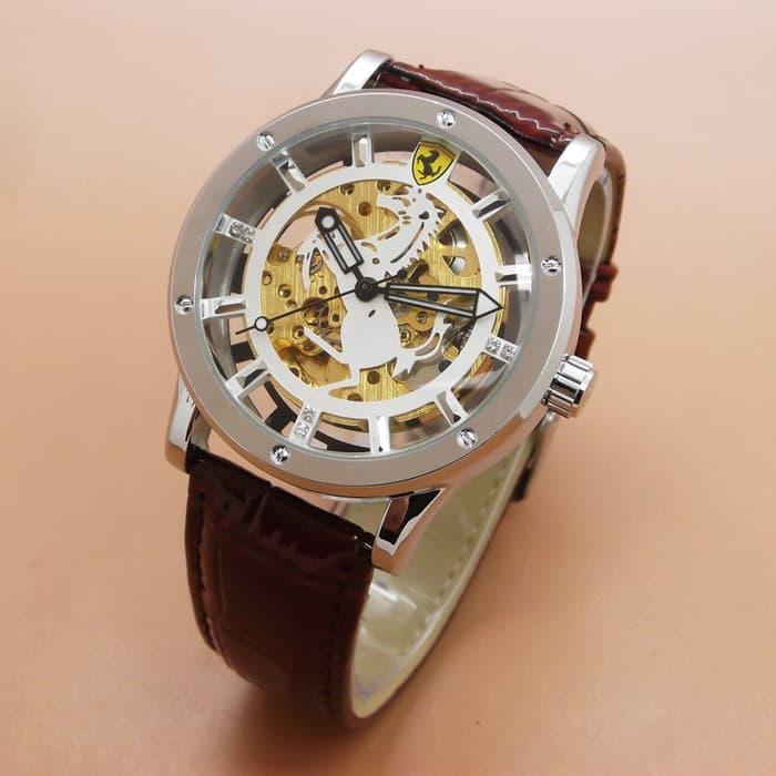 Jam Tangan Pria / Ferrari Skeleton Leather (Silver Brown Leather Plat White) / Jam Tangan Hight Quality / Jam Tangan Terlaris / Jam Tangan Impor / Jam Tangan Unik