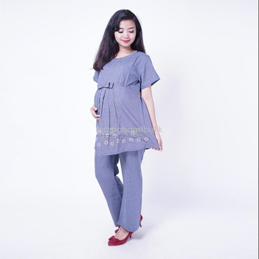Ning Ayu Setelan Hamil CP Pita Rose - STD 70 / Baju Hamil untuk kerja Lengan Panjang / Baju Hamil Seksi / Baju Hamil Gamis / Baju Menyusui Modis / Baju menyusui Murah / Baju Menyusui Terbaru / Baju Menyusui Keren