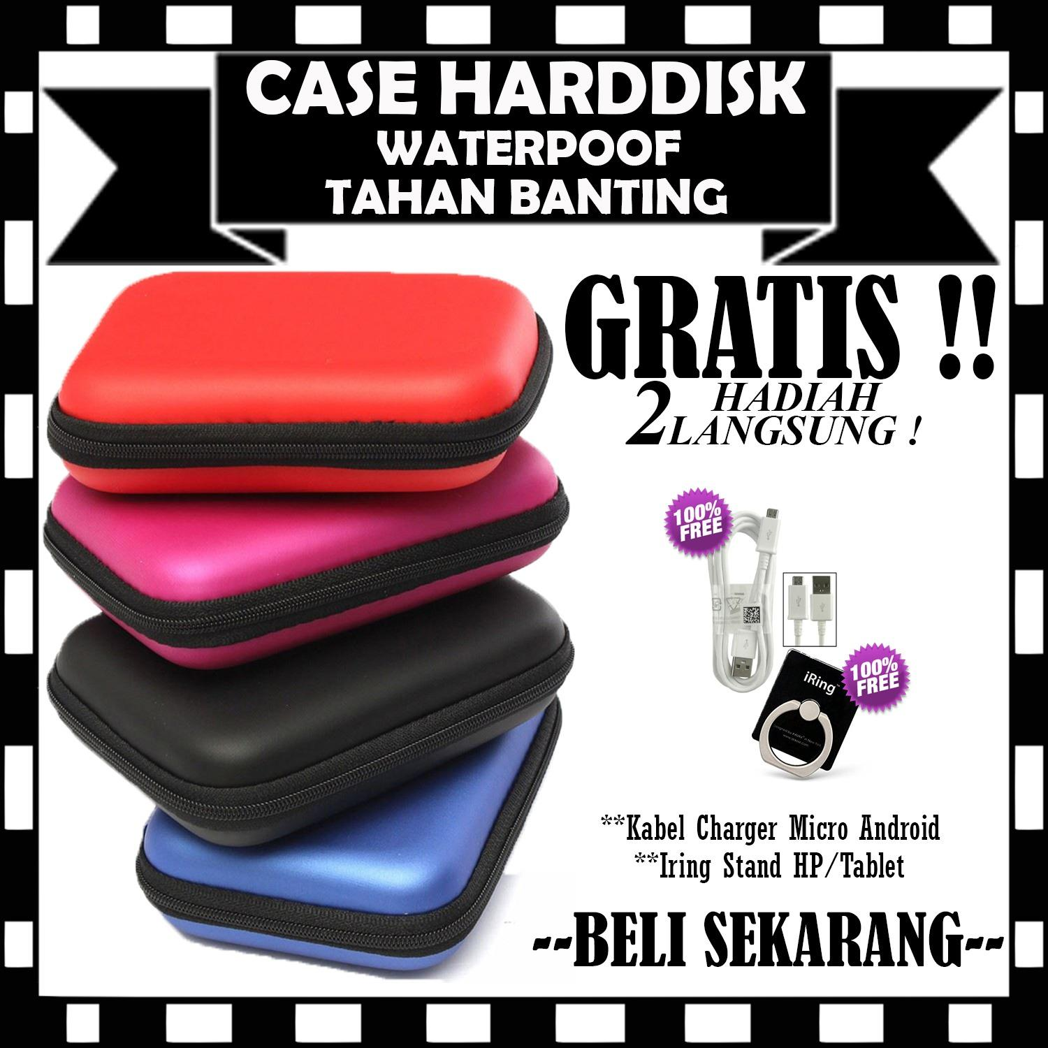 Promo Sale Sofcase Harddisk Hard Case Shockproof Tas Hardisk / Powerbank Tahan Banting for External HDD 2.5 inch Pouch Bag - GRATIS Kabel Charger Casan Micro Android & Iring Stand Hp/Tablet